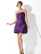 A-Line/Princess Sweetheart Short/Mini Taffeta Cocktail Dress (016005848)