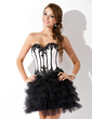 A-Line/Princess Sweetheart Short/Mini Satin Tulle Cocktail Dress With Beading Appliques Lace Sequins (016005846)