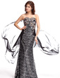 Sheath/Column Sweetheart Sweep Train Chiffon Sequined Evening Dress With Beading (017022806)
