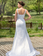 Trumpet/Mermaid Sweetheart Court Train Satin Organza Wedding Dress With Beading Sequins (002000384)