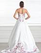 Corte A/Princesa Estrapless Cola capilla Satén Vestido de novia con Bordado Bordado (002005282)