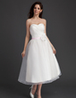 A-Line/Princess Sweetheart Tea-Length Organza Homecoming Dress With Ruffle Sash Flower(s) (022015962)