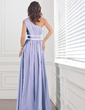 A-Line/Princess One-Shoulder Floor-Length Chiffon Evening Dress With Ruffle Beading (017012112)