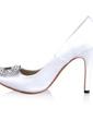 Women's Silk Like Satin Cone Heel Closed Toe Pumps With Rhinestone (047030348)