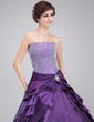 Ball-Gown Strapless Floor-Length Taffeta Quinceanera Dress With Crystal Brooch Cascading Ruffles (021020765)