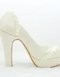 Women's Satin Chunky Heel Closed Toe Platform Pumps With Ruched (047005159)