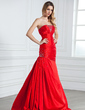 Trumpet/Mermaid Strapless Floor-Length Taffeta Evening Dress With Ruffle Beading (017021070)