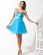 A-Line/Princess Sweetheart Short/Mini Tulle Homecoming Dress With Ruffle Beading (022020939)