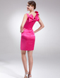 Sheath/Column V-neck Short/Mini Charmeuse Cocktail Dress With Bow(s) (016002974)