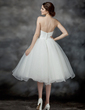 A-Line/Princess Sweetheart Knee-Length Organza Wedding Dress With Ruffle Flower(s) Sequins (002017198)