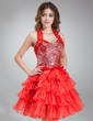 A-Line/Princess Halter Short/Mini Organza Cocktail Dress With Feather Sequins Cascading Ruffles (016016835)
