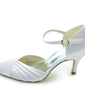 Women's Satin Cone Heel Pumps With Buckle Ruffles (047011842)