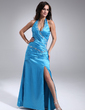 A-Line/Princess Halter Floor-Length Charmeuse Prom Dress With Ruffle Beading Split Front (018018671)