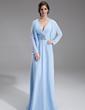 Çan/Prenses V Yaka Uzun Etekli Chiffon Gelin Annesi Elbisesi Ile Büzgü Boncuklama (008006069)