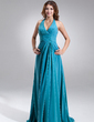 A-Line/Princess Halter Sweep Train Chiffon Bridesmaid Dress With Ruffle Bow(s) (007004308)