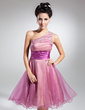 A-Line/Princess One-Shoulder Knee-Length Organza Homecoming Dress With Ruffle Beading (022015073)