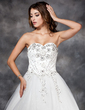 Ball-Gown Sweetheart Floor-Length Tulle Wedding Dress With Lace Beading Flower(s) Sequins (002017122)