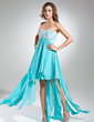 Empire Sweetheart Asymmetrical Chiffon Holiday Dress With Lace Beading Sequins Cascading Ruffles (020015520)