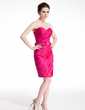 Sheath/Column Scalloped Neck Short/Mini Taffeta Cocktail Dress With Ruffle Beading (016008386)