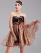 Empire Sweetheart Short/Mini Organza Sequined Cocktail Dress With Ruffle Beading Flower(s) (016008345)