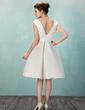 Çan/Prenses V Yaka Diz Hizası Satin Mezunlar Gecesi Elbisesi Ile Büzgü Çiçek(ler) (022009142)