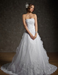 Ball-Gown Strapless Chapel Train Satin Organza Wedding Dress With Ruffle Lace Beading (002011556)