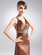A-Line/Princess V-neck Watteau Train Charmeuse Mother of the Bride Dress With Beading Pleated (008015824)