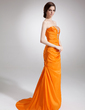 A-Line/Princess Strapless Sweep Train Taffeta Evening Dress With Ruffle Beading (017004355)