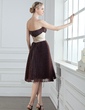 Empire Strapless Knee-Length Organza Bridesmaid Dress With Sash Beading Pleated (007000946)