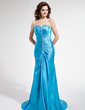 A-Line/Princess Sweetheart Sweep Train Charmeuse Prom Dress With Ruffle Beading Sequins (018004829)