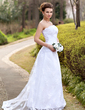 A-Line/Princess Strapless Sweep Train Lace Wedding Dress With Ruffle (002000127)