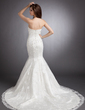 Trumpet/Mermaid Strapless Chapel Train Satin Wedding Dress With Beading Appliques Lace Sequins (002012843)