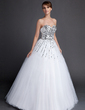 Ball-Gown Sweetheart Floor-Length Tulle Sequined Quinceanera Dress (021015871)
