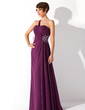 A-Line/Princess One-Shoulder Floor-Length Chiffon Prom Dress With Ruffle Beading Split Front (018004872)