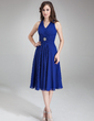 A-Line/Princess V-neck Knee-Length Chiffon Bridesmaid Dress With Ruffle Crystal Brooch (007021104)