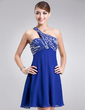 Empire One-Shoulder Short/Mini Chiffon Homecoming Dress With Beading Sequins (022010582)