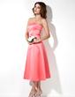 Forme Princesse Sans bretelle Longueur mollet Satiné Robe de demoiselle d'honneur avec Emperler (007004049)