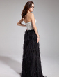 Sheath/Column Sweetheart Floor-Length Satin Feather Prom Dress With Beading Split Front (018019441)