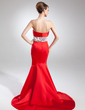 Trumpet/Mermaid Strapless Court Train Satin Mother of the Bride Dress With Ruffle Beading (008015741)