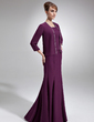 Trumpet/Mermaid Scoop Neck Floor-Length Chiffon Mother of the Bride Dress With Beading (008005928)