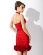 Sheath/Column Halter Knee-Length Taffeta Mother of the Bride Dress With Ruffle Flower(s) (008005644)