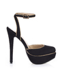 Velvet Fabric Stiletto Heel Pumps Platform Closed Toe Slingbacks With Buckle shoes (085026445)