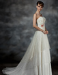 A-Line/Princess Sweetheart Court Train Organza Lace Wedding Dress With Sash Beading Flower(s) (002017175)