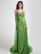 Trumpet/Mermaid Cowl Neck Court Train Chiffon Prom Dress With Ruffle Beading (018015804)