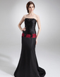 Trumpet/Mermaid Strapless Court Train Charmeuse Mother of the Bride Dress With Lace Sash Beading (008016734)