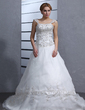 Ball-Gown Sweetheart Chapel Train Satin Organza Wedding Dress With Embroidered Beading (002000545)