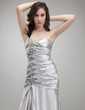 Trumpet/Mermaid One-Shoulder Floor-Length Charmeuse Prom Dress With Ruffle Beading Feather (018005253)