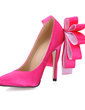 Women's Silk Like Satin Stiletto Heel Closed Toe Pumps With Satin Flower (047015255)