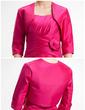 Kılıf Yuvarlak Yaka Diz Hizası Taffeta Gelin Annesi Elbisesi Ile Büzgü Çiçek(ler) (008006525)