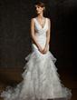 Trumpet/Mermaid V-neck Chapel Train Satin Organza Wedding Dress With Cascading Ruffles (002011678)